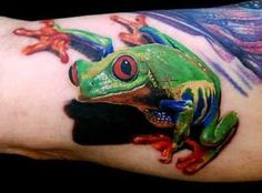 frog tattoo love the 3d effect