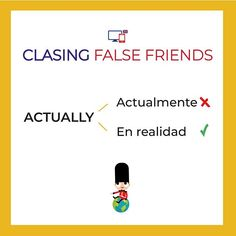 "Cuidado!! NO significa actualmente! se usa generalmente para enfatizar la verdad de algo que estamos diciendo. ""I actually don't have a bad family""  ...  #falsefriends #aprendeingles #inglesfacil #ingles #inglesgratis False Friends, Spanish Language Learning, Spanish Lessons, English Vocabulary, Grammar, Truths, Frases, Vocabulary Words, Fake Friends Status"