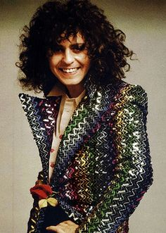Glam Rock, Marc Bolan in Biba jacket with ziggurat sequins, 1973 Marc Bolan, 70s Music, Rock Music, Nostalgic Music, Biba Fashion, Rock Fashion, Fashion 2008, Lolita Fashion, Fashion Boots