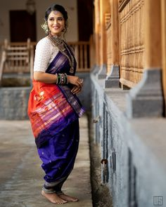 Vibrant Navari Look Images That Can Take Your Breath Away Maharashtrian Saree, Marathi Saree, Marathi Bride, Indian Wedding Bride, Saree Wedding, Kashta Saree, Lehenga, Couple Wedding Dress, Nauvari Saree