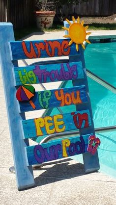 Pool sign to go by my pool. I completed. Swimming Pool Signs, Swimming Pools, Backyard Pool Designs, Pool Landscaping, Diy Pool, Pool Fun, Pool Rules Sign, Pallet Pool, Living Pool
