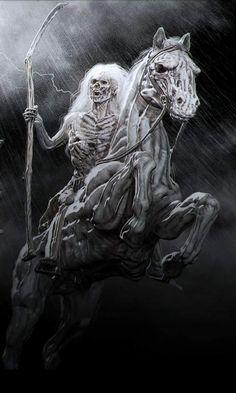 Death Reaper, Grim Reaper Art, Grim Reaper Tattoo, Dark Artwork, Skull Artwork, Arte Horror, Horror Art, Four Horsemen Of The Apocalypse Tattoo, Pale Horse