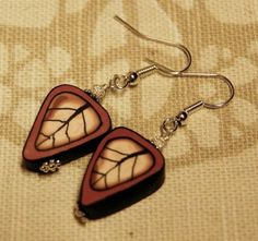Leaf earings  from polyclay - Polymerclay by KVJ