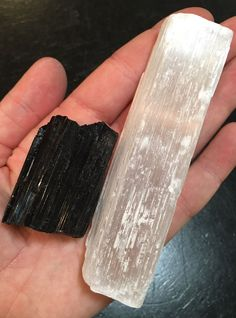 Raw Selenite Wand and Black Tourmaline Chunk This is the ultimate protection - Both Black Tourmaline and Selenite are wonderful crystals for protection, just have slightly different energy frequencies