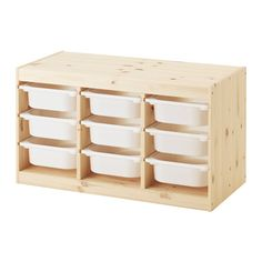 TROFAST Storage combination with boxes - light white stained pine/white - IKEA Idea: Lego Storage and glue on lego sheets on top and side for building. Ikea Trofast Storage, Ikea Storage Kids, Childrens Storage Furniture, Nursery Furniture, Geek Furniture, Diy Kids Furniture, Furniture Online, Woodworking Furniture, Kid Furniture