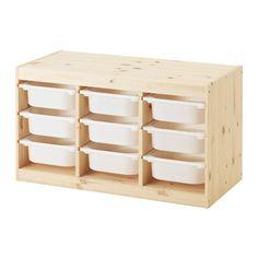IKEA - TROFAST, Opbergcombinatie met bakken, grenen/wit, , Een speelse en stevige opbergserie voor het opbergen en ordenen van al het speelgoed, en waar je op kan zitten/spelen.Het basiselement heeft meerdere sporen, zodat je lades en planken naar wens kan plaatsen - en ook weer kan vérplaatsen.In een lage opberger kunnen kinderen zelf hun spullen pakken en weer opruimen.