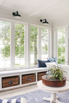 Lake House Sunroom - beautiful windows and window seat overlooking the lake. This has to be the most perfect room - via The Lilypad Cottage: Coastal Cottage Lakehouse Decor Sunroom Decorating, Sunroom Ideas, Decorating Ideas, Enclosed Porch Decorating, Decor Ideas, Rustic Sunroom, Small Sunroom, Cottage Decorating, Patio Ideas