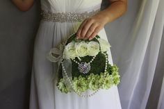purse bouquet flower girl basket or handbag with brooch,string of pearls, flowers  and moss on Etsy, $95.00