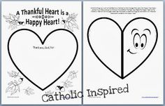 Thankful Heart Worksheet and Art Project ~ Catholic Inspired