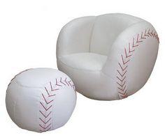 Baseball-chair & foot stool for Charlie's room