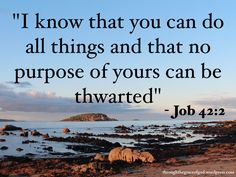 """""""I know that you can do all things and that no purpose of yours can be thwarted"""" – Job 42:2 #Christianity #bible #biblequotes #job #job42_2 #godsword"""