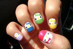 Hello Kitty Rainbow Nails - I have to do these for KK