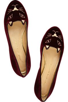 Charlotte Olympia embroidered velvet slippers. Yes, I will rock shoes with kitties on them #catladyforlife