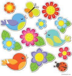 Freischneiden zum Drucken Tiere D coupage gratui Handmade Crafts, Diy And Crafts, Crafts For Kids, Arts And Crafts, Bird Clipart, Flower Clipart, Patch Quilt, Animal Cutouts, Clip Art
