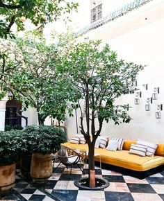 5 Beautiful Riads in Marrakech :: This Is Glamorous Marrakech Gardens, Riads In Marrakech, Outside Living, Outdoor Living, Cedar Door, Cool Fire Pits, Moroccan Furniture, Moroccan Art, Outdoor Spaces