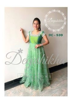 DC - Beautiful green color floor length dress with floral print.For queries kindly WhatsApp: 91 9059683293 07 July 2018 Long Gown Dress, Frock Dress, Saree Dress, Long Frock, Long Dresses, Kalamkari Dresses, Ikkat Dresses, Long Dress Design, Dress Neck Designs