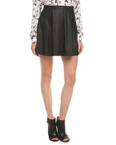 French Connection Judy Jegs Black Coated Pleated Skirt