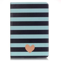 iPad Mini 4 Case, StrangeNose (TM) Stylish Art Printed Flip PU leather stand protective case ,New Style Colorful Premium PU leather folio case for iPad Mini 4 .(Gray stripe heart) ** Check out this great product.