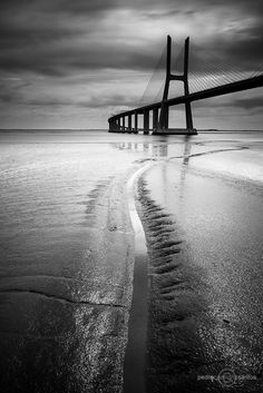 Vasco da Gama bridge at Lisbon, Portugal Shot Photo, Photo B, Robert Doisneau, Fun Shots, Family Pics, Dark Backgrounds, Life Is Like, Shades Of Black, Black And White Photography