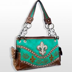 TURQUOISE FDL CROSS     Turquoise WESTERN PURSE