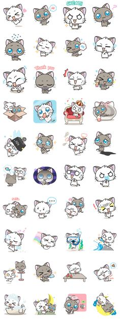 "for all cat lovers! ""Hoshi & Luna"" the naughty cats will bring big smiles to you and your friend. Griffonnages Kawaii, Chat Kawaii, Kawaii Stickers, Cute Stickers, Anime Animals, Cute Animals, Cartoon Mignon, Art Mignon, Kawaii Doodles"
