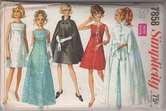 MOMSPatterns Vintage Sewing Patterns - Simplicity 7858 Vintage 60's Sewing Pattern STUNNING Mod Red Carpet Oscar Party Evening Ensemble, Square Neck Cocktail Party Dress, Gala Gown, Vamp Collar Cape, Floor Length Stand Up Collar Opera Cloak Coat