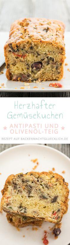 Mal ein etwas anderer Gemüsekuchen für Partys, Picknicks und Fingerfood-Buffets: Dieser Antipastikuchen aus Rührteig schmeckt auch kalt köstlich. Der Gemüse Cake kann mit verschiedenen Gemüsesorten gemacht werden.