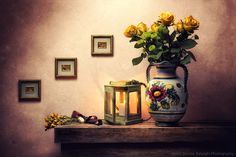 Davide Solurghi Photography - Recent Work - Vecchie Atmosfere | Thank you so much for the visits, favs and comments :)  ©Davide Solurghi All Rights Reserved #stilllife #indoor #inside #studio #Flowers #wood #table #wooden #furniture #earthenware #nature_morte #natura_morta #roses #fiori #lantern #vaso #jar #atmosphere #clock #time #onion #pocket_watch #orologio #tempo #cipolla