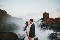 Wedding portrait taken on the coast of England by James Frost.