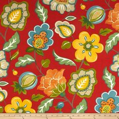 Swavelle/Mill Creek Indoor/Outdoor Jovino Floral Salsa from @fabricdotcom  This indoor/outdoor fabric is stain and water resistant, very family friendly and perfect for outdoor settings and indoors in sunny rooms. It is fade resistant up to 500 hours of direct sun exposure. Create decorative toss pillows, cushions, chair pads, placemats, tote bags, slipcovers and upholstery. Colors include teal, beige, orange, shades of green, gold, ivory and red.