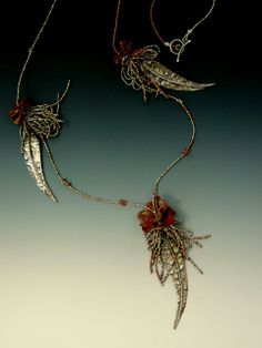 Leaves....fine silver, copper mesh,  antique French brass seed beads..LuciaAntonelli.com