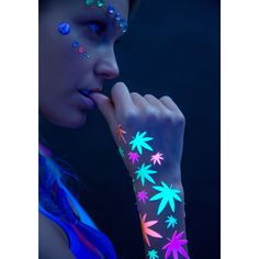 Sasswear Weed Blacklight Body Stickers (2750 RSD) ❤ liked on Polyvore featuring accessories and body art