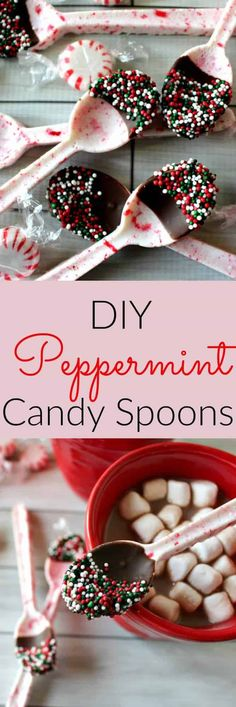 Peppermint Candy Spoons - a cute and easy DIY holiday gift! These spoons are literally made out of starlight peppermint candy (you could also use candy canes). They are crushed up and made into a spoon! Perfect for dipping in your hot chocolate. They make the perfect DIY Christmas gift! Super easy gift and fun to make with the kids for the holidays!