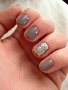"""I have short nails because I work alot with my hands love these styles that make even short look good. Essie """"Miss Fancy Pants"""" LA Splash Nail Art Glitter in Golden Egg. Gray Nails, Love Nails, Pretty Nails, Fun Nails, Grey Nail Designs, Short Nail Designs, Art Designs, Design Ideas, Essie"""