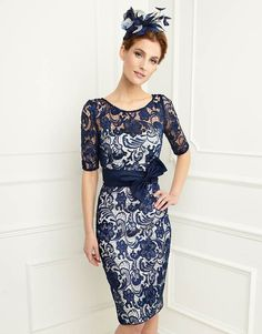 Gorgeous blue lace overlay dress; 25596 by John Charles