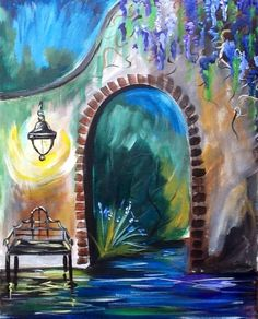 Wisteria at Night! A garden bench at night by blooming flowers or walking up the path? Personal Painting Party painting created by  Cinnamon Cooney for Hart Party