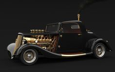 Breath taking black beauty tastefully bathed in gold and every bit a Steampunk