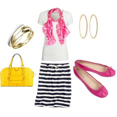 Striped skirt and pink ballet flats :)