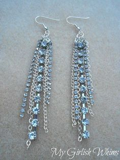 DIY Earrings and Homemade Jewelry Projects - Rhinestone Chain Earrings - Easy Studs, Ideas with Beads, Dangle Earring Tutorials, Wire, Feather, Simple Boho, Handmade Earring Cuff, Hoops and Cute Ideas for Teens and Adults http://diyprojectsforteens.com/diy-earrings