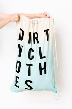 a DIY dip-dyed laundry bag