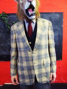 Vintage 1970s Brown Tweed CHECK PLAID Blazer Jacket Medium