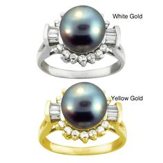 10k Black Round-shape Tahitian Pearl and White Zircon Ring (9-9. mm) (White - Size ), Women's