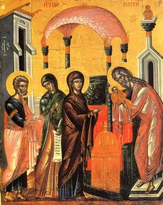 This is the icon of the Presentation of our Lord in the Temple. Obliged by the Mosaic Law Mary and Joseph go to the temple, the heart of . Byzantine Icons, Byzantine Art, Transfiguration Of Jesus, Jesus In The Temple, Agony In The Garden, Assumption Of Mary, Greek Icons, Powerful Images, Religious Icons