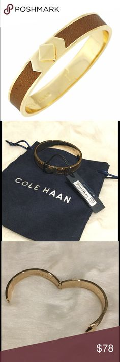 "NWT Cole Haan 12K Gold Hinged Leather Inlay Bangle Gorgeous 12K gold plated metallic leather inlaid bangle by Cole Haan.  Hinged.  APprox 58mm inner diameter, .4"" width.  Dust bag included Cole Haan Jewelry Bracelets"