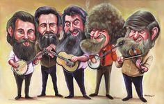 Niall O Loughlin the_dubliners_hires Cartoon Faces, Mandolin, Caricature, Album Covers, Gumbo, Banjo, Gallery, Musicians, Ireland