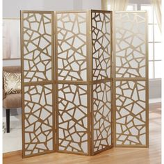 Shop for Giyano 4 Panel Screen Room Divider. Get free delivery On EVERYTHING* Overstock - Your Online Home Decor Outlet Store! All Modern, Modern Decor, 4 Panel Room Divider, Mosaic Designs, Home Decor Outlet, Wood Species, Living Spaces, Living Room, Contemporary Design