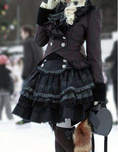 gothic lolita- Wedding outfit choices tend to base around this. Black ruffles skirt with pinned lolita bodice. Metamorphose is a regular choice of purchase Lolita Outfit, Lolita Dress, Gothic Dress, Mode Steampunk, Steampunk Fashion, Gothic Steampunk, Steampunk Dress, Steampunk Necklace, Gothic Lolita Fashion