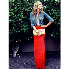 Red Maxi Skirt. Love this look. Just wish AZ wasn't as hot so this could be my go-to summer outfit.