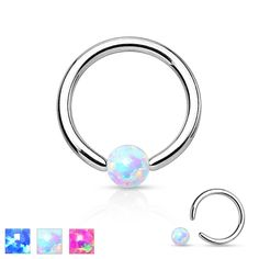 An unique ball closure ring with an Opal stone as a ball. The Opal ball carries a soft glimmer and therefore offers a neat alternative for the classic steel balls.