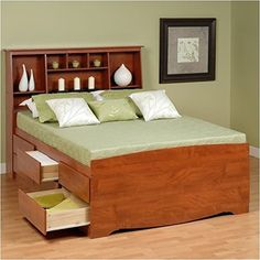 Prepac Monterey Queen Tall Bookcase HighPlatform Storage Bed in Cherry >>> Find out more about the great product at the image link. (Amazon affiliate link)